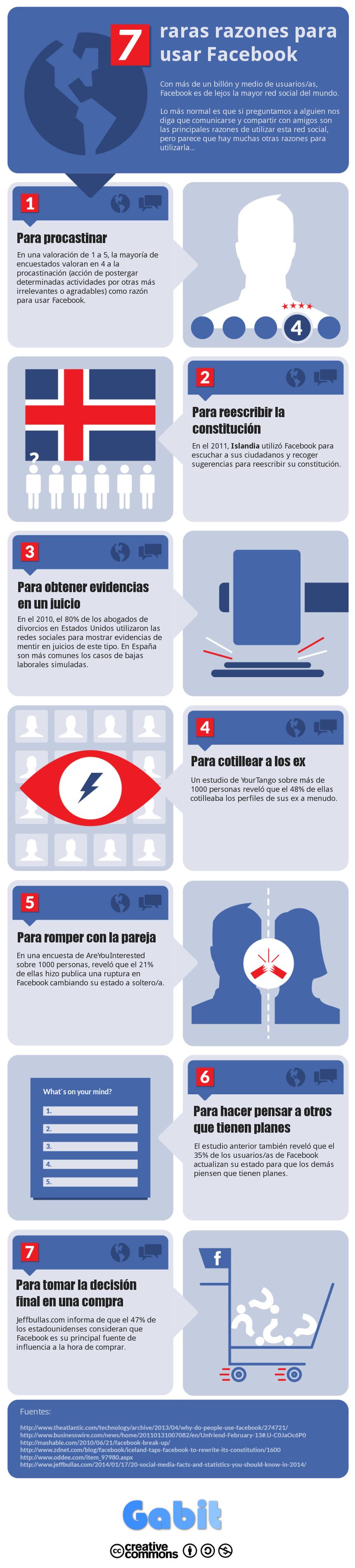 7 raras razones para usar Facebook (Infografía)
