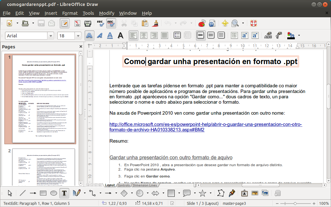 Captura de Draw editando un documento PDF
