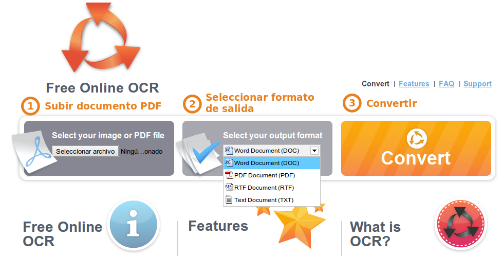 Captura de Free Online OCR.