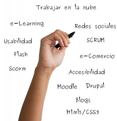Conceptos: Traballar na nube, e-Learning, SCRUM, moodle, drupal, elgg, Flash, Scorm, redes sociais