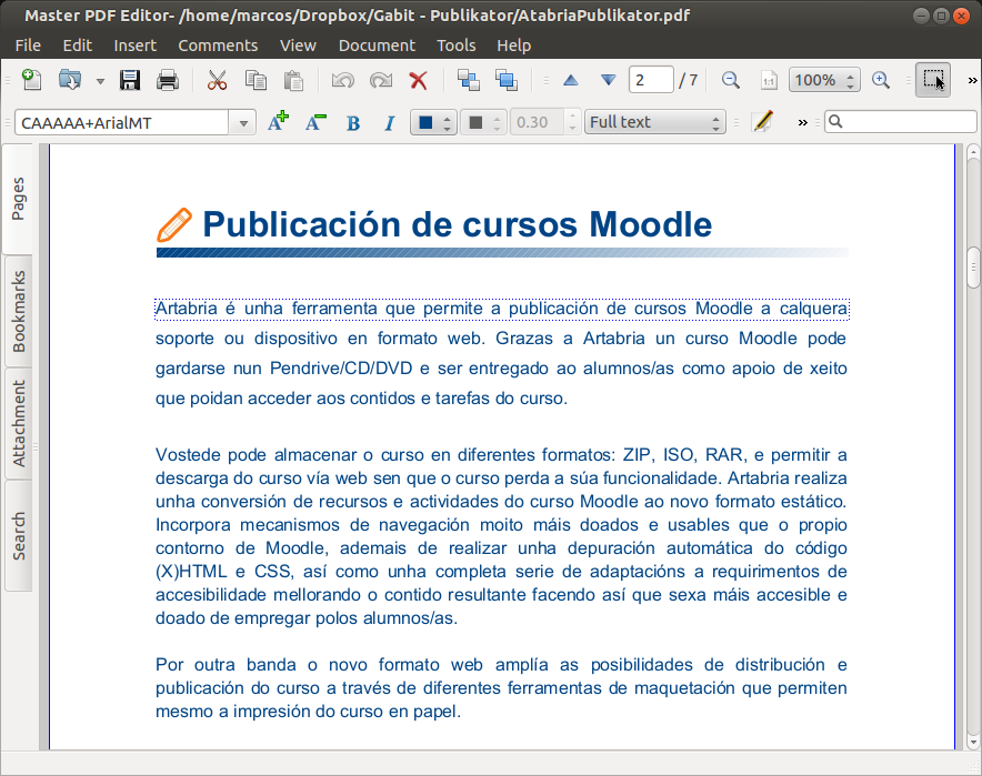 Captura do programa editando un documento PDF