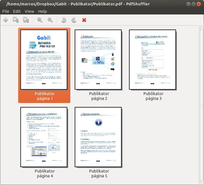 Ejemplo de cómo organizar un documento con PdfShuffler.