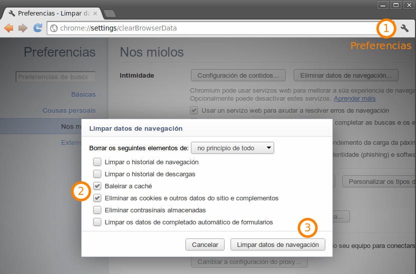 Eliminar as cookies en Chrome