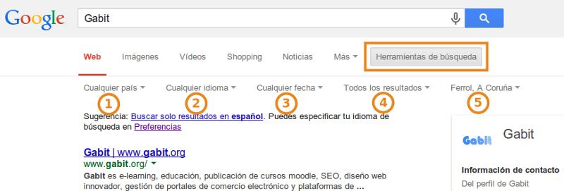 Caja de búsqueda con Herramientas de búsqueda