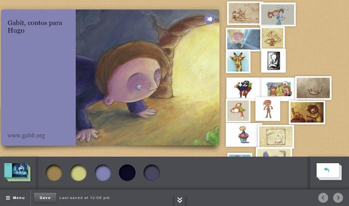 Captura que muestra el Editor de Storybird en funcionamiento