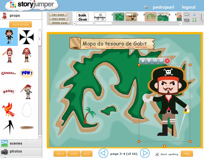 Captura que muestra el Editor de Story Jumper en funcionamiento