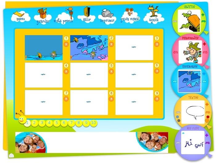 Captura que muestra el Editor de Story Maker en funcionamiento